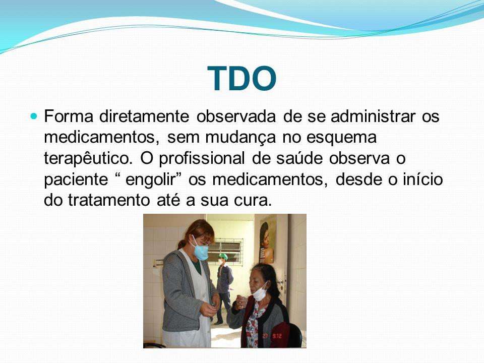 TDO Forma diretamente observada de se administrar os medicamentos, sem mudança no esquema terapêutico. O profissional de saúde observa o paciente engo