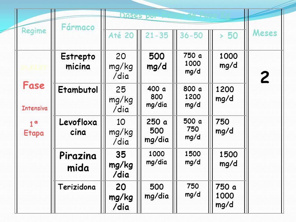 Regime Fármaco Doses por Faixa de Peso Kg Meses Até 2021-3536-50 > 50 2S 5 ELZT Fase Intensiva 1ª Etapa Estrepto micina 20 mg/kg /dia 500 mg/d 750 a 1