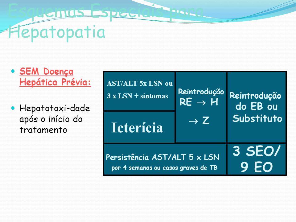 Esquemas Especiais para Hepatopatia SEM Doença Hepática Prévia: Hepatotoxi-dade após o início do tratamento AST/ALT 5x LSN ou 3 x LSN + sintomas Persi