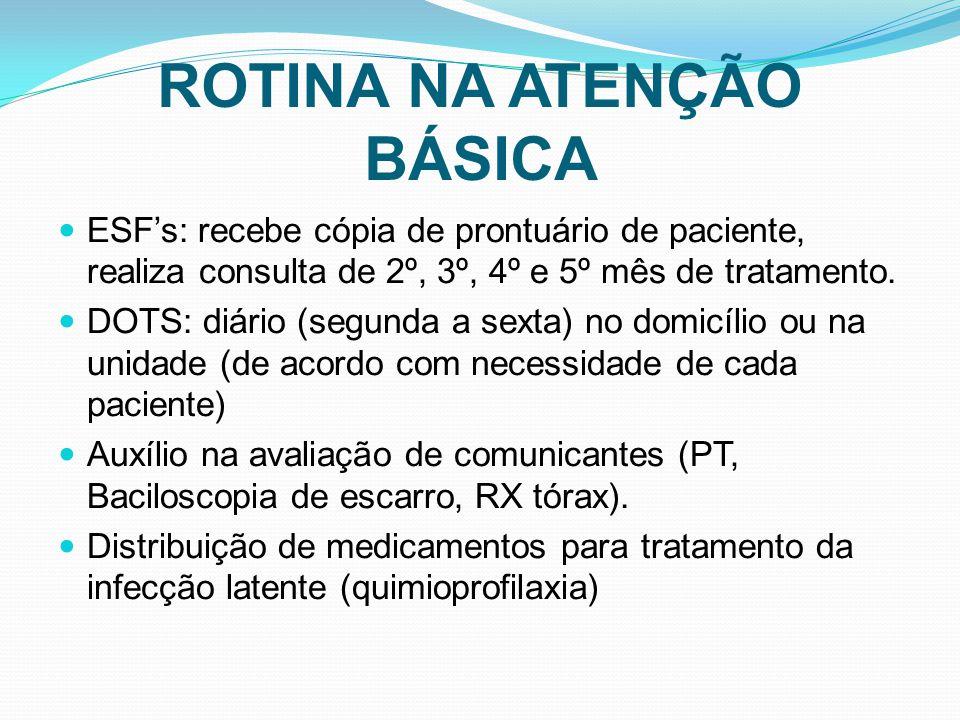 ROTINA NA ATENÇÃO BÁSICA ESFs: recebe cópia de prontuário de paciente, realiza consulta de 2º, 3º, 4º e 5º mês de tratamento. DOTS: diário (segunda a