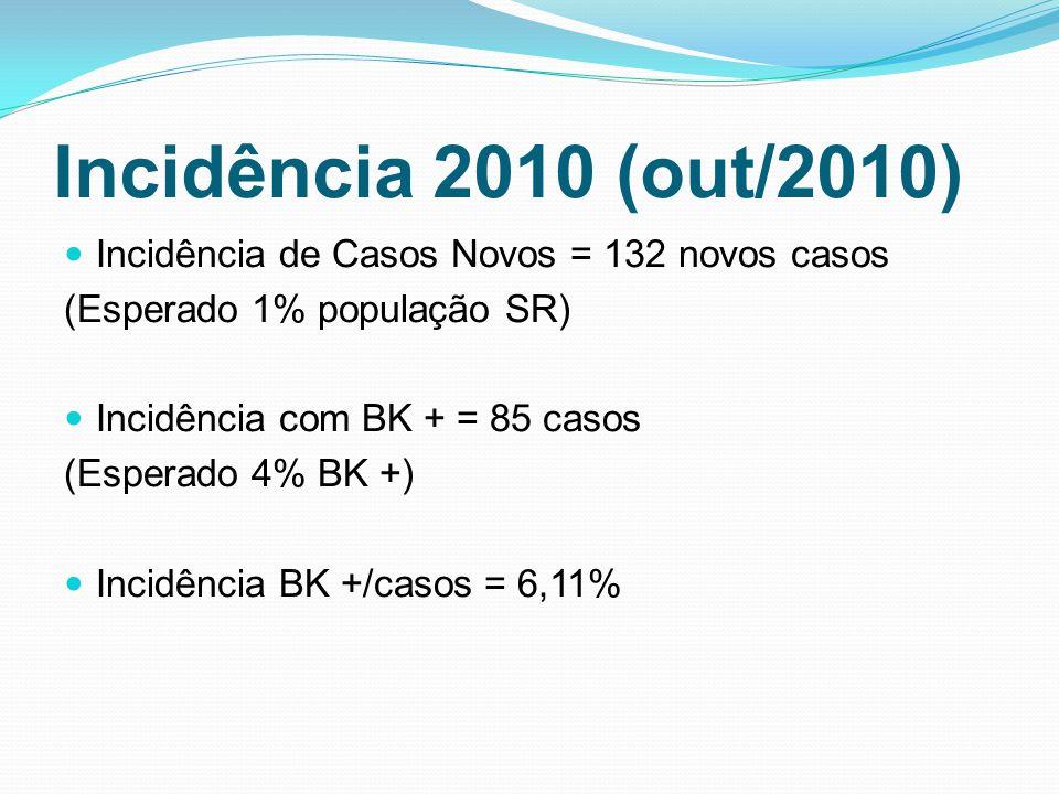 Incidência 2010 (out/2010) Incidência de Casos Novos = 132 novos casos (Esperado 1% população SR) Incidência com BK + = 85 casos (Esperado 4% BK +) In