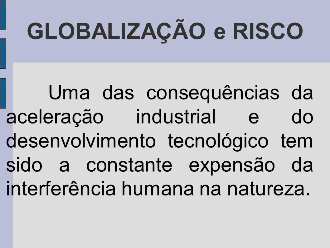 GLOBALIZAÇÃO e RISCO Uma das consequências da aceleração industrial e do desenvolvimento tecnológico tem sido a constante expensão da interferência humana na natureza.