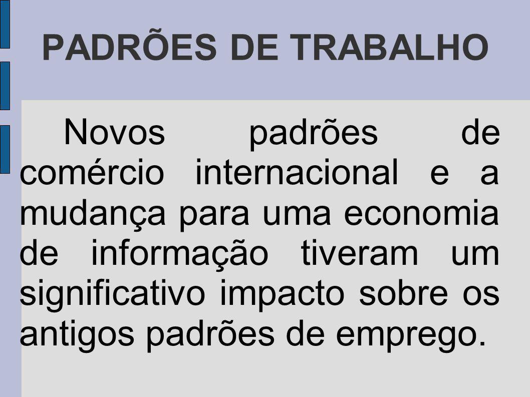 PADRÕES DE TRABALHO Novos padrões de comércio internacional e a mudança para uma economia de informação tiveram um significativo impacto sobre os antigos padrões de emprego.
