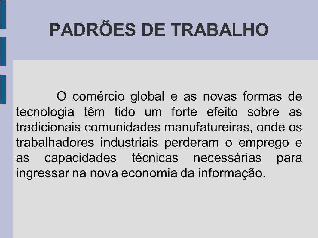 PADRÕES DE TRABALHO O comércio global e as novas formas de tecnologia têm tido um forte efeito sobre as tradicionais comunidades manufatureiras, onde