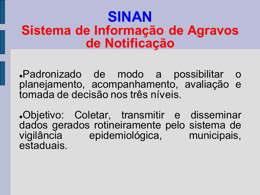 SINAN Sistema de Informação de Agravos de Notificação Padronizado de modo a possibilitar o planejamento, acompanhamento, avaliação e tomada de decisão