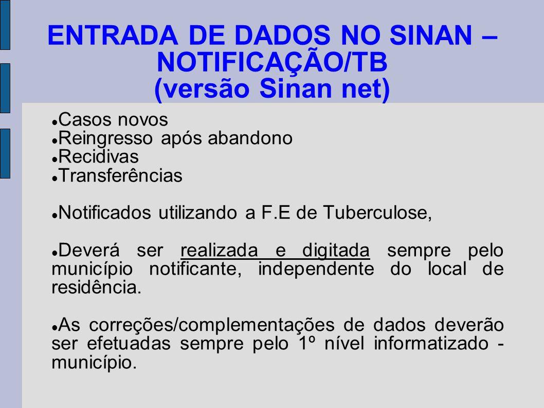 ENTRADA DE DADOS NO SINAN – NOTIFICAÇÃO/TB (versão Sinan net) Casos novos Reingresso após abandono Recidivas Transferências Notificados utilizando a F