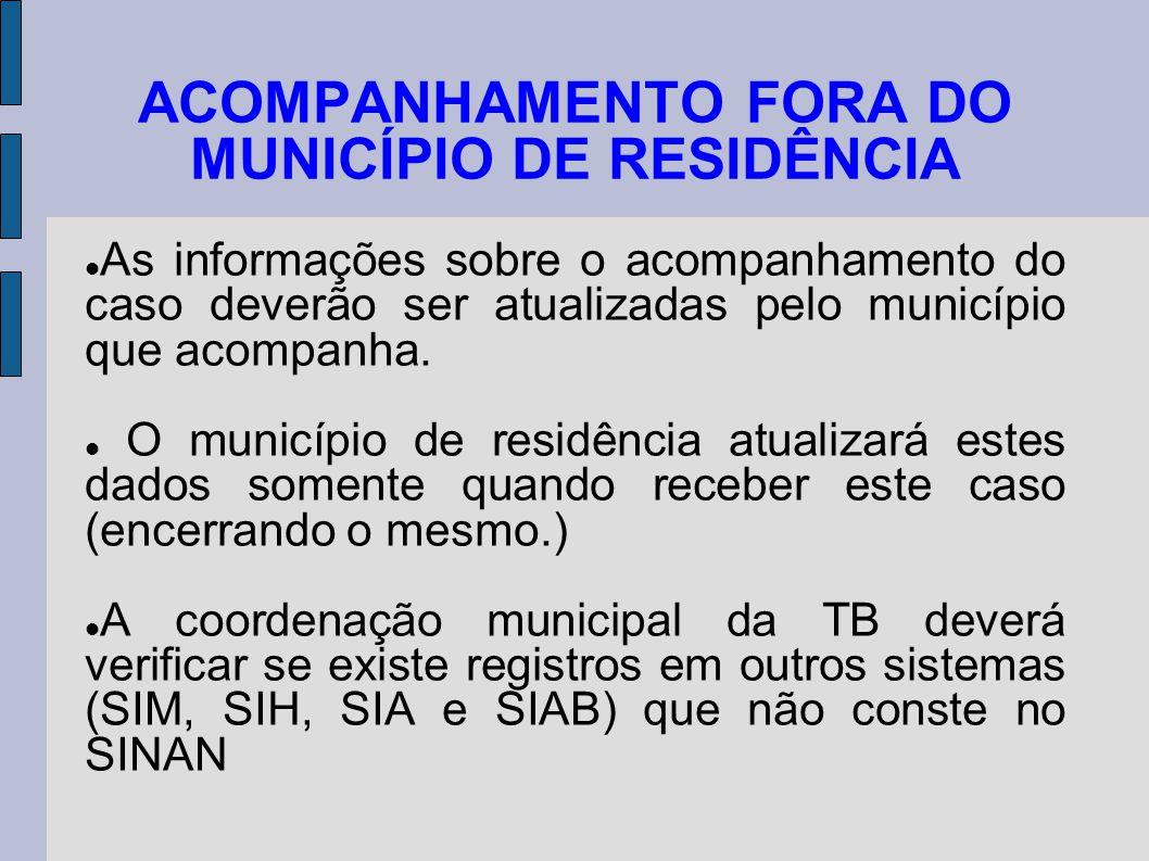 ACOMPANHAMENTO FORA DO MUNICÍPIO DE RESIDÊNCIA As informações sobre o acompanhamento do caso deverão ser atualizadas pelo município que acompanha. O m