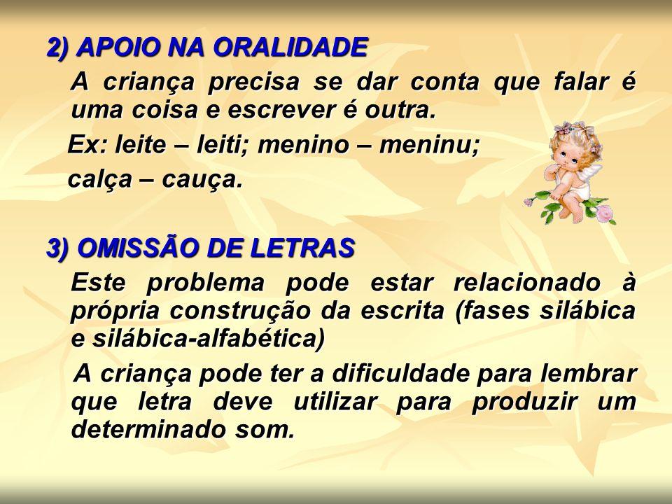 4) JUNÇÃO/ SEPARAÇÃO INDEVIDA DAS PALAVRAS Inicialmente a criança escreve grudando as palavras.