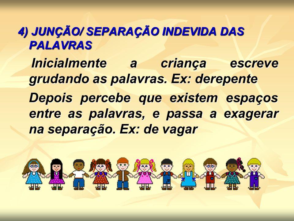 5) SUPERGENERALIZAÇÃO Para cada nova regra aprendida há uma tendência da criança em generalizá-la.