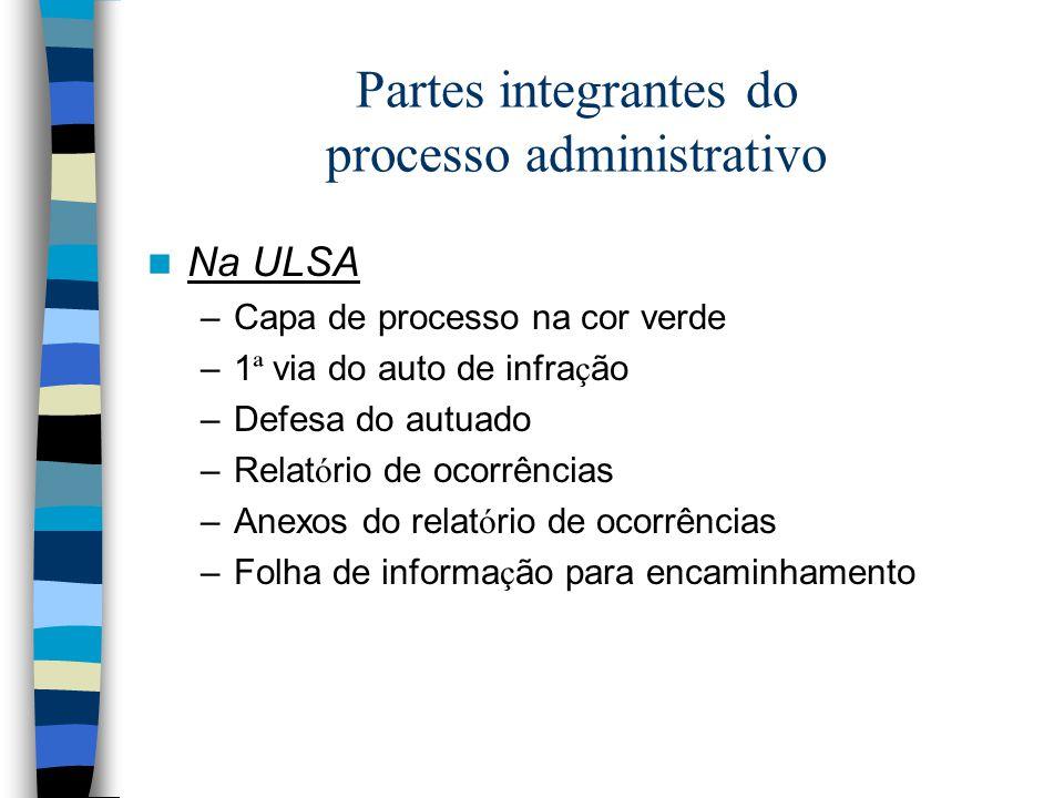 Partes integrantes do processo administrativo Na ULSA –Capa de processo na cor verde –1 ª via do auto de infra ç ão –Defesa do autuado –Relat ó rio de