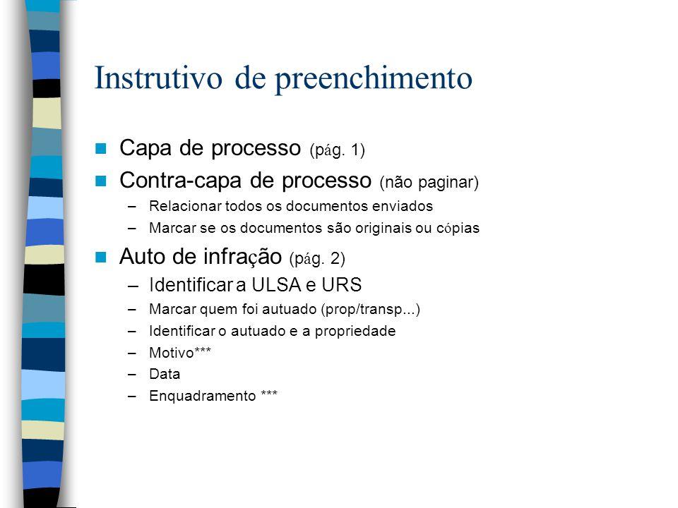 Instrutivo de preenchimento Capa de processo (p á g. 1) Contra-capa de processo (não paginar) –Relacionar todos os documentos enviados –Marcar se os d