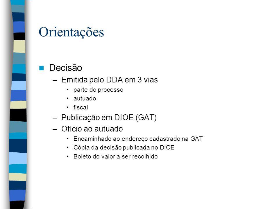 Orientações Decisão –Emitida pelo DDA em 3 vias parte do processo autuado fiscal –Publicação em DIOE (GAT) –Ofício ao autuado Encaminhado ao endereço