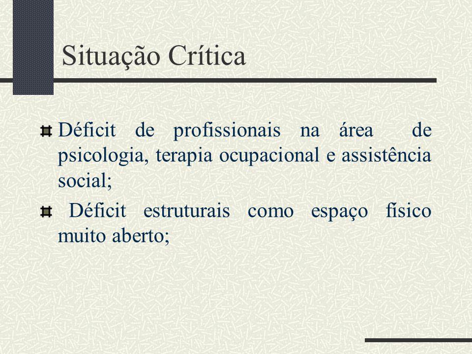 Situação Crítica Déficit de profissionais na área de psicologia, terapia ocupacional e assistência social; Déficit estruturais como espaço físico muito aberto;
