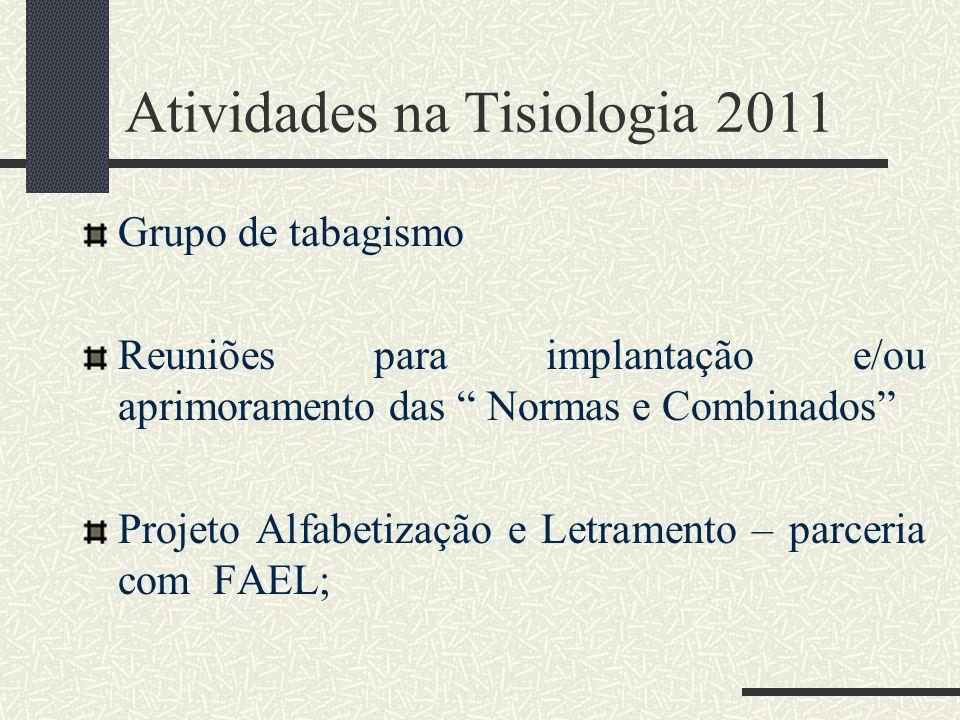 Atividades na Tisiologia 2011 Grupo de tabagismo Reuniões para implantação e/ou aprimoramento das Normas e Combinados Projeto Alfabetização e Letramento – parceria com FAEL;