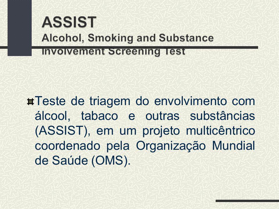 Teste de triagem do envolvimento com álcool, tabaco e outras substâncias (ASSIST), em um projeto multicêntrico coordenado pela Organização Mundial de Saúde (OMS).