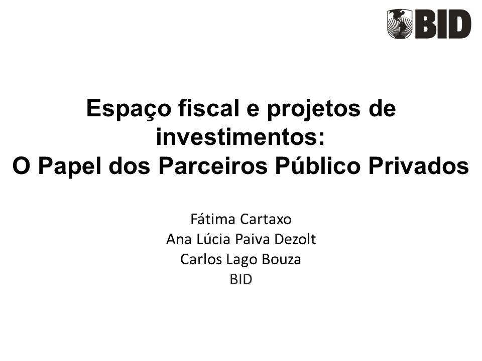 Espaço fiscal e projetos de investimentos: O Papel dos Parceiros Público Privados Fátima Cartaxo Ana Lúcia Paiva Dezolt Carlos Lago Bouza BID