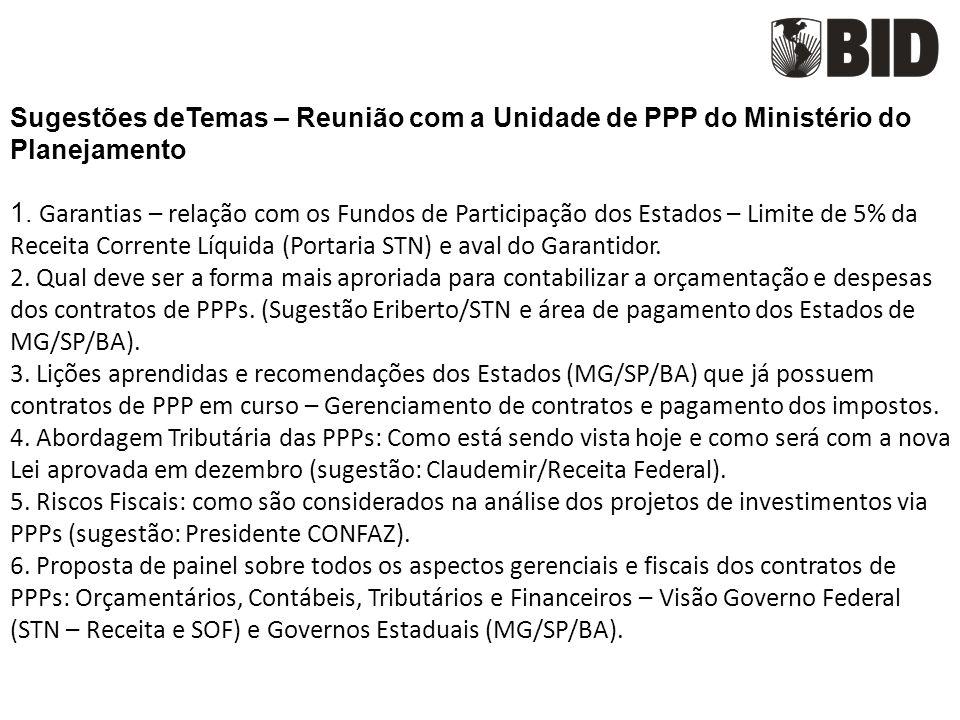 Sugestões deTemas – Reunião com a Unidade de PPP do Ministério do Planejamento 1.