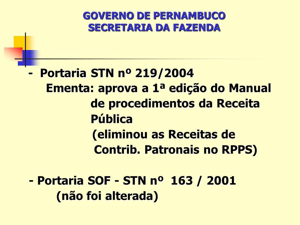- Portaria STN nº 219/2004 - Portaria STN nº 219/2004 Ementa: aprova a 1ª edição do Manual Ementa: aprova a 1ª edição do Manual de procedimentos da Receita de procedimentos da Receita Pública Pública (eliminou as Receitas de (eliminou as Receitas de Contrib.