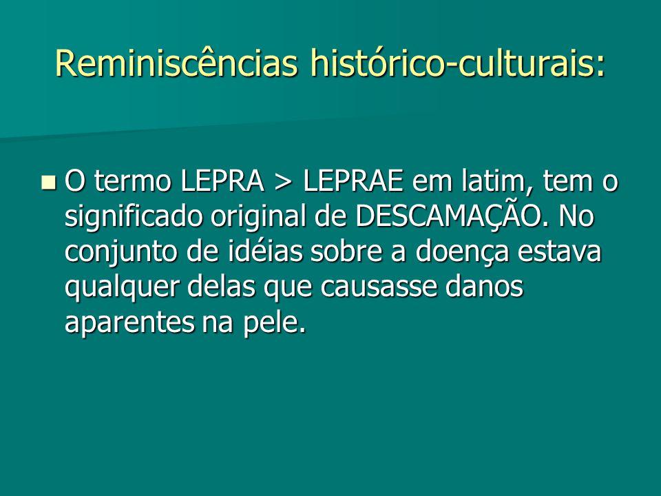 Reminiscências histórico-culturais: O termo LEPRA > LEPRAE em latim, tem o significado original de DESCAMAÇÃO. No conjunto de idéias sobre a doença es