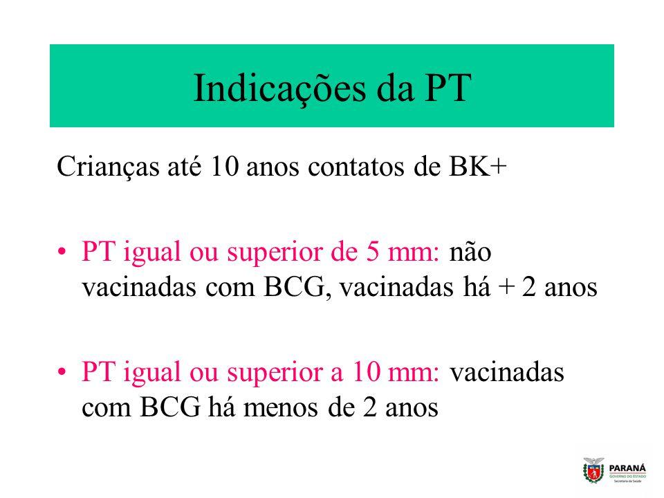Indicações da PT Crianças até 10 anos contatos de BK+ PT igual ou superior de 5 mm: não vacinadas com BCG, vacinadas há + 2 anos PT igual ou superior a 10 mm: vacinadas com BCG há menos de 2 anos