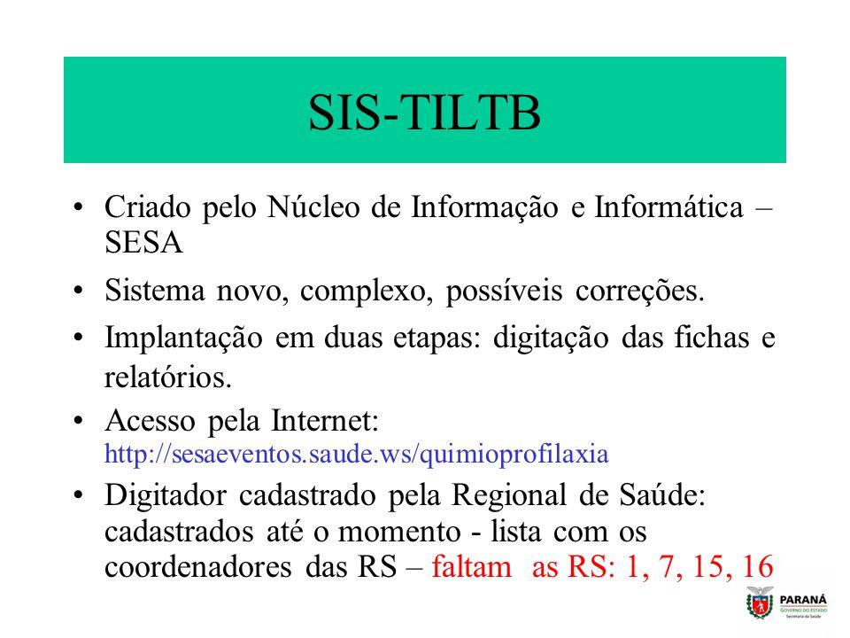 SIS-TILTB Criado pelo Núcleo de Informação e Informática – SESA Sistema novo, complexo, possíveis correções. Implantação em duas etapas: digitação das
