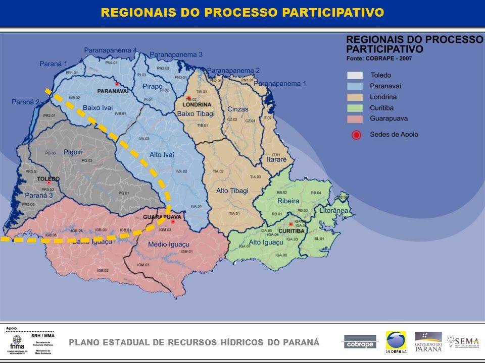 PLANO ESTADUAL DE RECURSOS HÍDRICOS DO PARANÁ REGIONAIS DO PROCESSO PARTICIPATIVO