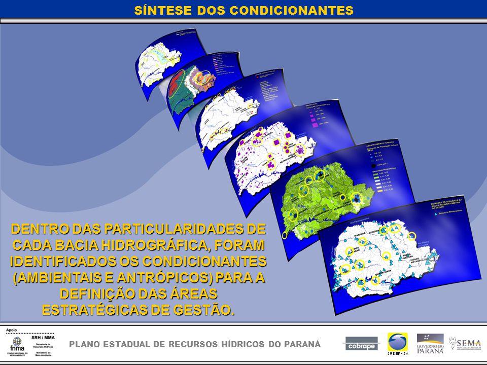 PLANO ESTADUAL DE RECURSOS HÍDRICOS DO PARANÁ SÍNTESE DOS CONDICIONANTES DENTRO DAS PARTICULARIDADES DE CADA BACIA HIDROGRÁFICA, FORAM IDENTIFICADOS OS CONDICIONANTES (AMBIENTAIS E ANTRÓPICOS) PARA A DEFINIÇÃO DAS ÁREAS ESTRATÉGICAS DE GESTÃO.