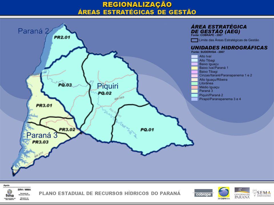 PLANO ESTADUAL DE RECURSOS HÍDRICOS DO PARANÁ REGIONALIZAÇÃO ÁREAS ESTRATÉGICAS DE GESTÃO