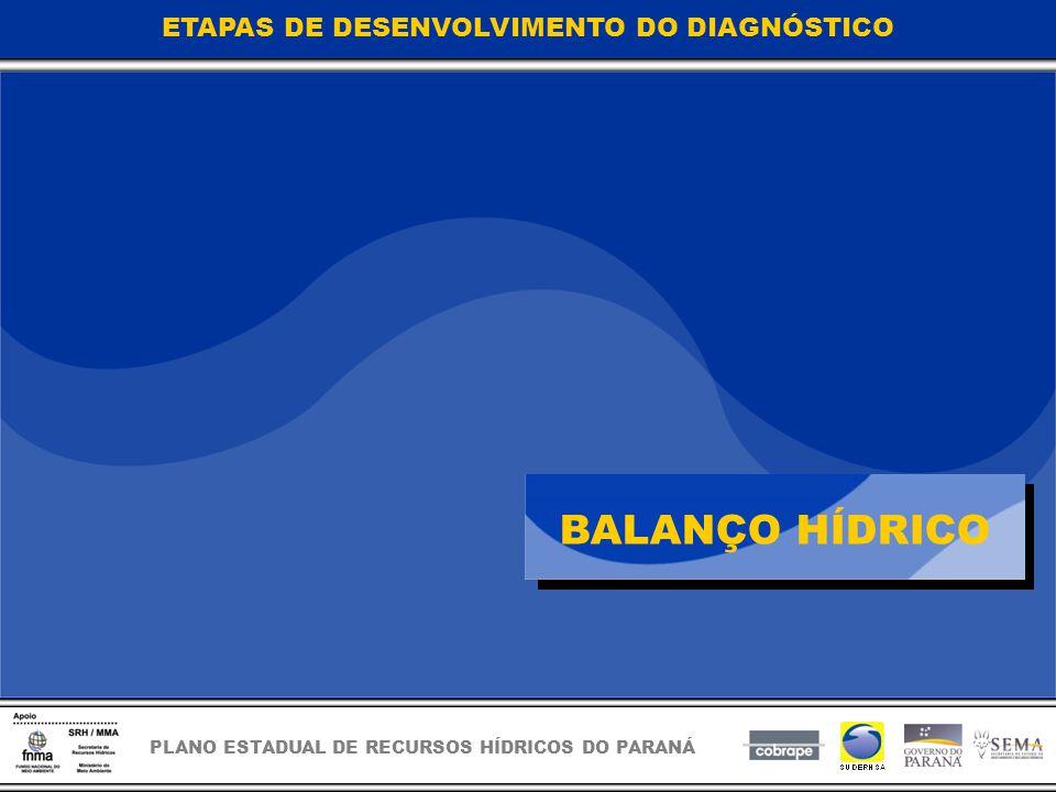 PLANO ESTADUAL DE RECURSOS HÍDRICOS DO PARANÁ BALANÇO HÍDRICO ETAPAS DE DESENVOLVIMENTO DO DIAGNÓSTICO
