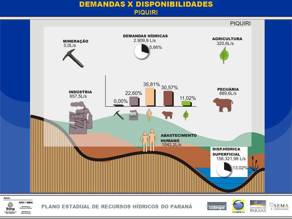 PLANO ESTADUAL DE RECURSOS HÍDRICOS DO PARANÁ DEMANDAS X DISPONIBILIDADES PIQUIRI
