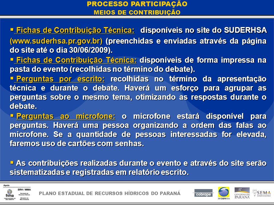 PLANO ESTADUAL DE RECURSOS HÍDRICOS DO PARANÁ Fichas de Contribuição Técnica:disponíveis no site do SUDERHSA (www.suderhsa.pr.gov.br) (preenchidas e enviadas através da página do site até o dia 30/06/2009).