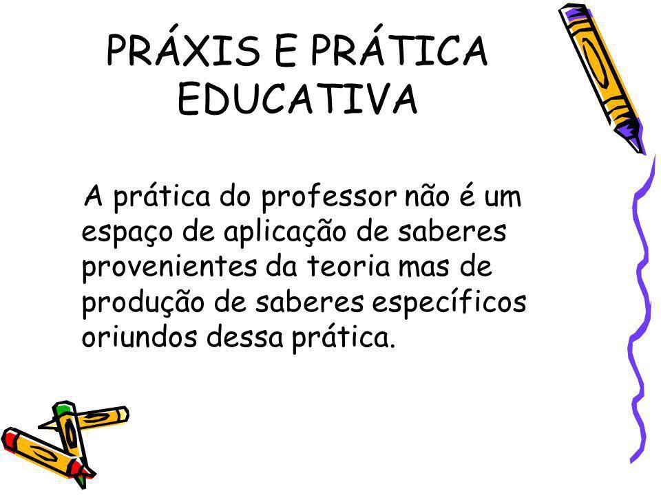 PRÁXIS E PRÁTICA EDUCATIVA A prática do professor não é um espaço de aplicação de saberes provenientes da teoria mas de produção de saberes específico