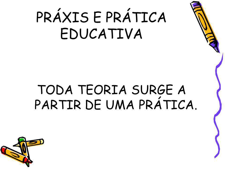 PRÁXIS E PRÁTICA EDUCATIVA TODA TEORIA SURGE A PARTIR DE UMA PRÁTICA.