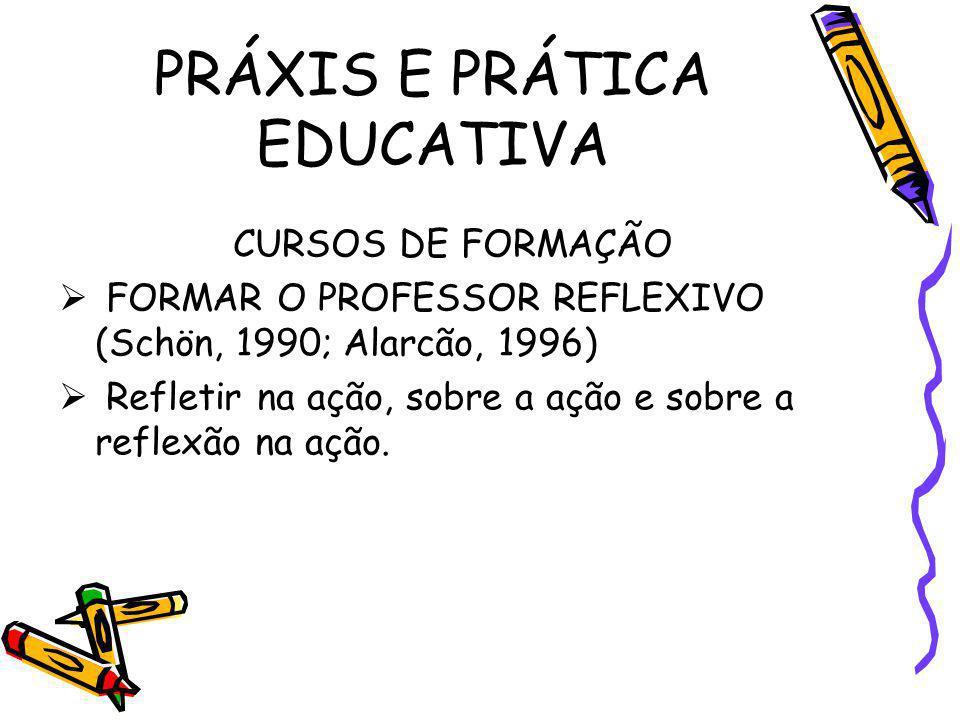 PRÁXIS E PRÁTICA EDUCATIVA CURSOS DE FORMAÇÃO FORMAR O PROFESSOR REFLEXIVO (Schön, 1990; Alarcão, 1996) Refletir na ação, sobre a ação e sobre a refle