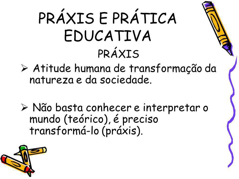 PRÁXIS E PRÁTICA EDUCATIVA PRÁXIS Atitude humana de transformação da natureza e da sociedade. Não basta conhecer e interpretar o mundo (teórico), é pr
