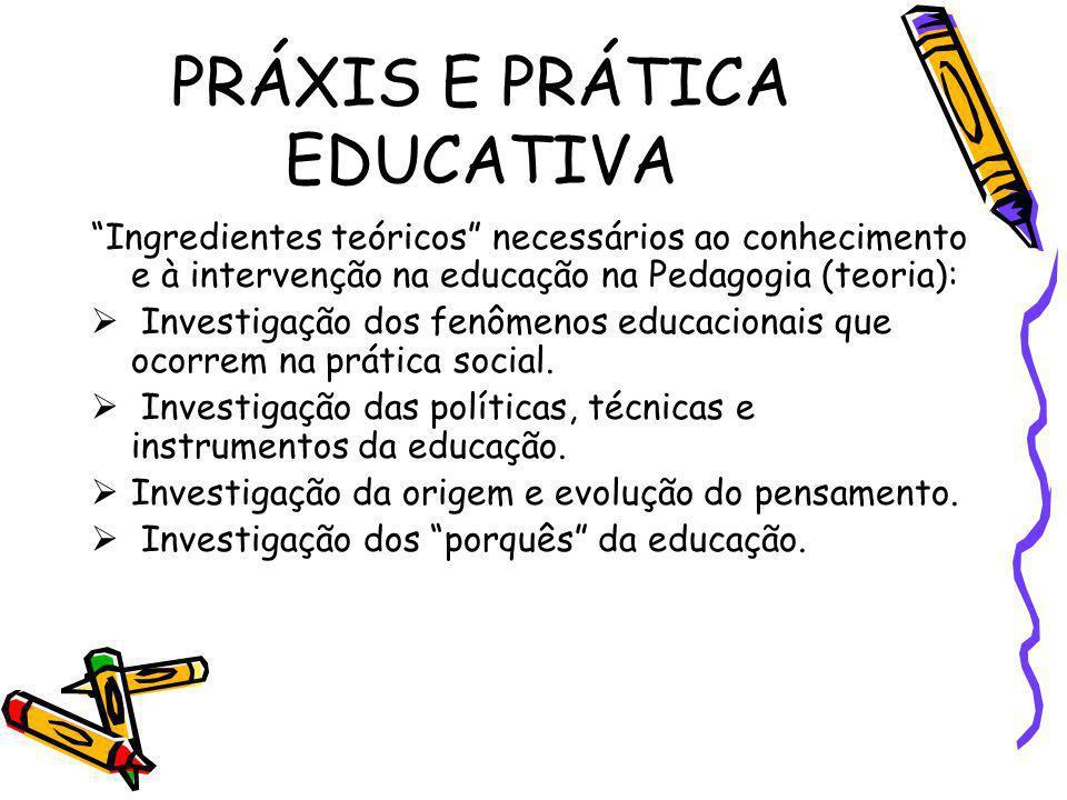 PRÁXIS E PRÁTICA EDUCATIVA Ingredientes teóricos necessários ao conhecimento e à intervenção na educação na Pedagogia (teoria): Investigação dos fenôm
