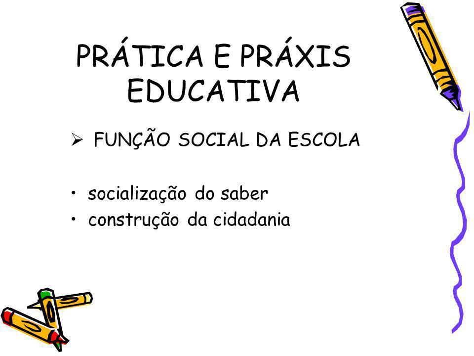 PRÁTICA E PRÁXIS EDUCATIVA FUNÇÃO SOCIAL DA ESCOLA socialização do saber construção da cidadania