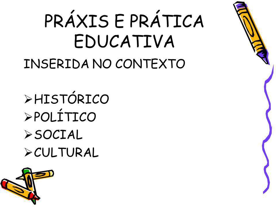 PRÁXIS E PRÁTICA EDUCATIVA INSERIDA NO CONTEXTO HISTÓRICO POLÍTICO SOCIAL CULTURAL