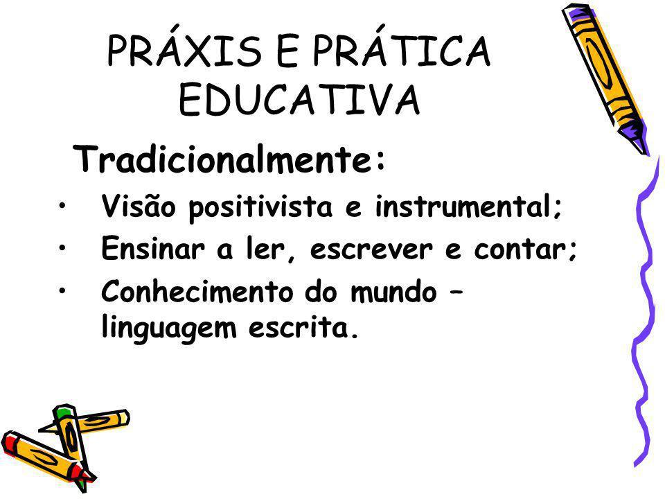 PRÁXIS E PRÁTICA EDUCATIVA Tradicionalmente: Visão positivista e instrumental; Ensinar a ler, escrever e contar; Conhecimento do mundo – linguagem esc