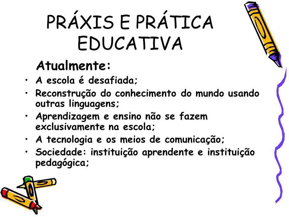 PRÁXIS E PRÁTICA EDUCATIVA Atualmente: A escola é desafiada; Reconstrução do conhecimento do mundo usando outras linguagens; Aprendizagem e ensino não