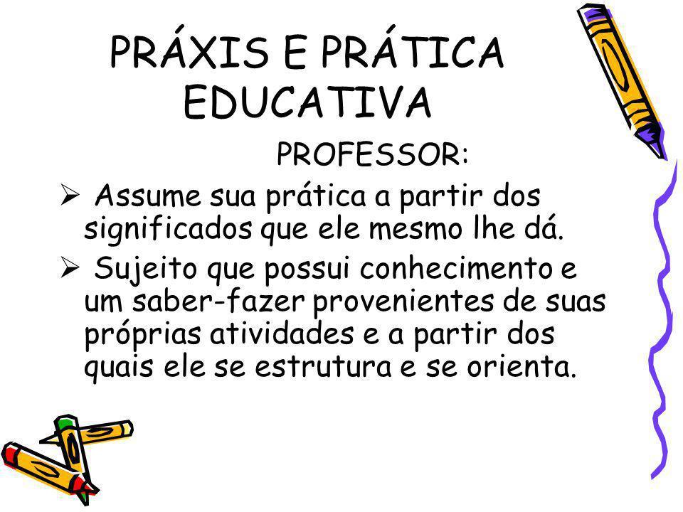 PRÁXIS E PRÁTICA EDUCATIVA PROFESSOR: Assume sua prática a partir dos significados que ele mesmo lhe dá. Sujeito que possui conhecimento e um saber-fa