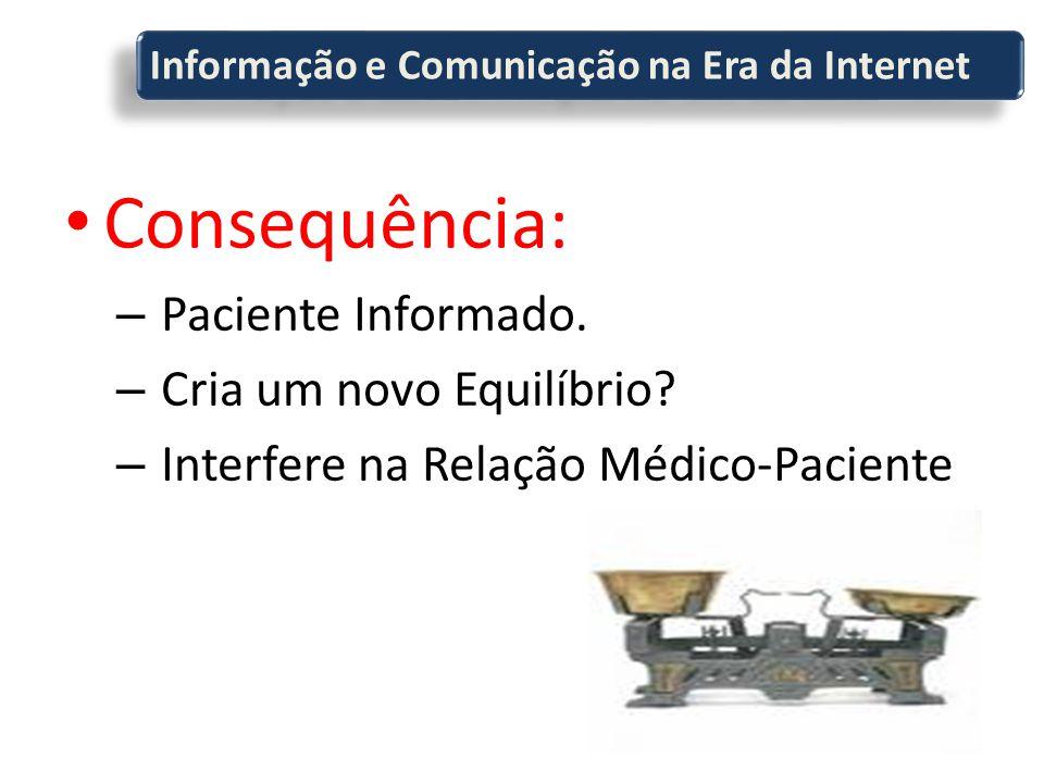 Consequência: – Paciente Informado. – Cria um novo Equilíbrio.