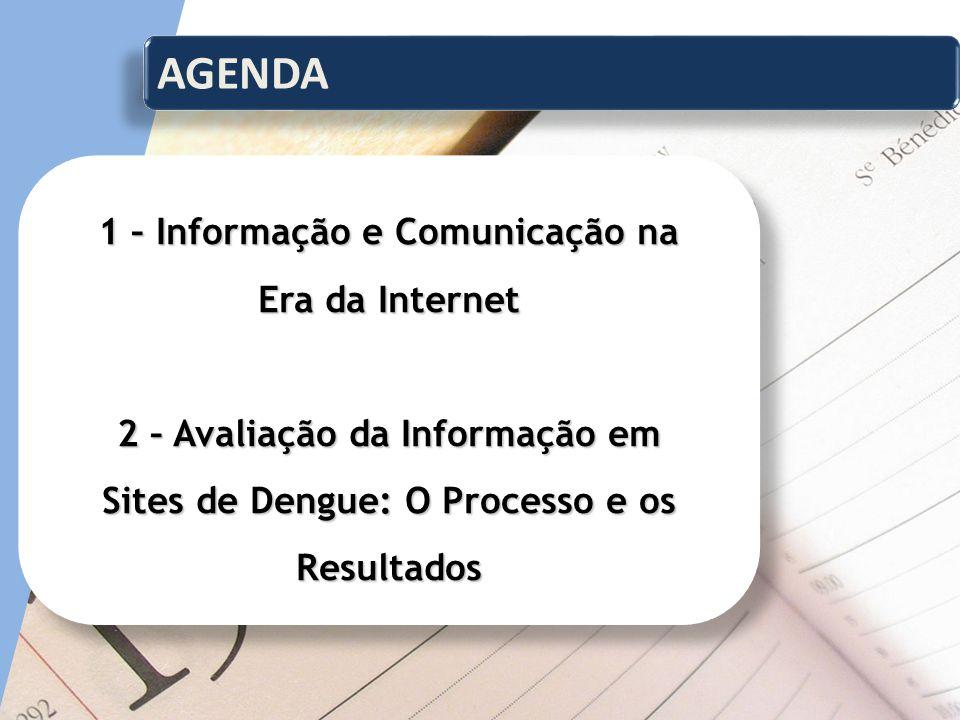 AGENDA 1 – Informação e Comunicação na Era da Internet 2 – Avaliação da Informação em Sites de Dengue: O Processo e os Resultados