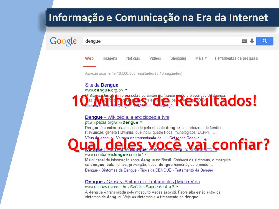 Informação e Comunicação na Era da Internet 10 Milhões de Resultados! Qual deles você vai confiar