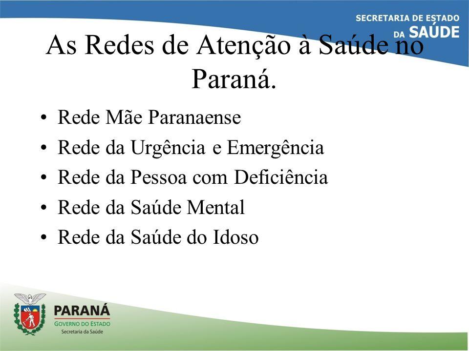 As Redes de Atenção à Saúde no Paraná. Rede Mãe Paranaense Rede da Urgência e Emergência Rede da Pessoa com Deficiência Rede da Saúde Mental Rede da S
