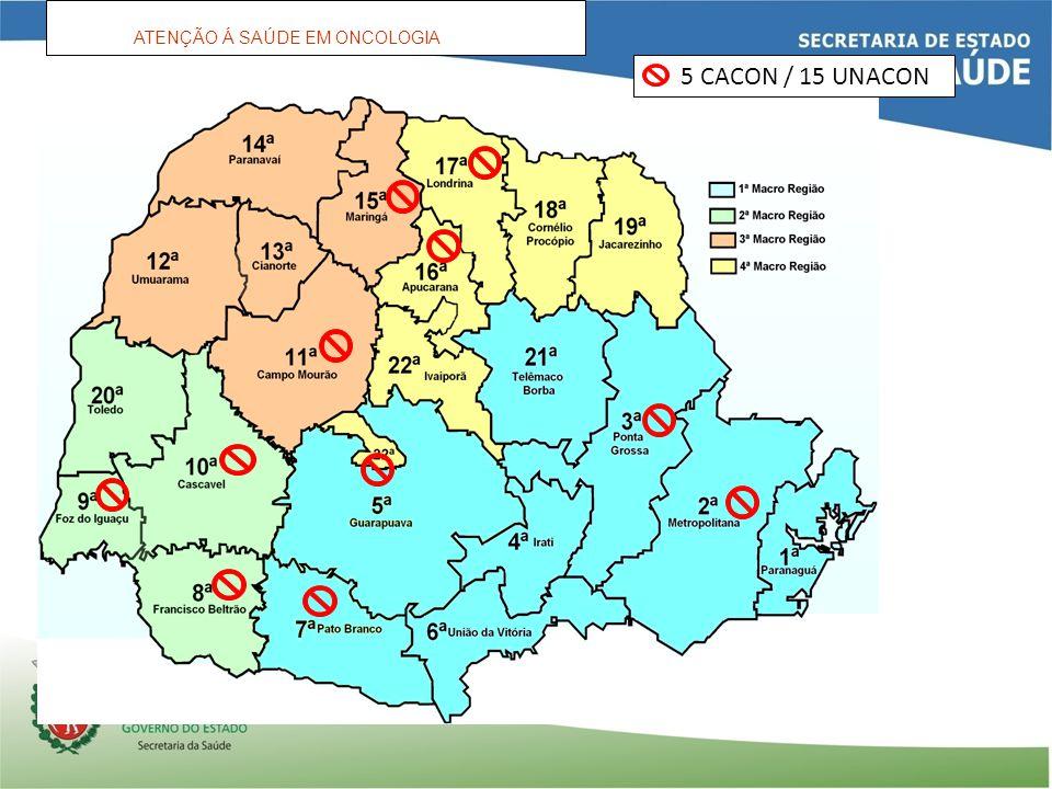 ATENÇÃO Á SAÚDE EM ONCOLOGIA 5 CACON / 15 UNACON