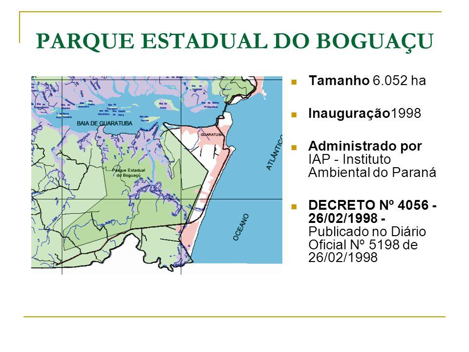 PARQUE ESTADUAL DO BOGUAÇU Tamanho 6.052 ha Inauguração1998 Administrado por IAP - Instituto Ambiental do Paraná DECRETO Nº 4056 - 26/02/1998 - Public