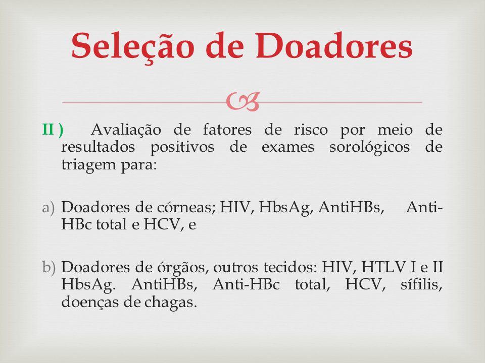 II ) Avaliação de fatores de risco por meio de resultados positivos de exames sorológicos de triagem para: a)Doadores de córneas; HIV, HbsAg, AntiHBs,