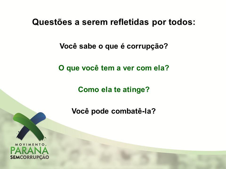 Questões a serem refletidas por todos: Você sabe o que é corrupção? O que você tem a ver com ela? Como ela te atinge? Você pode combatê-la?