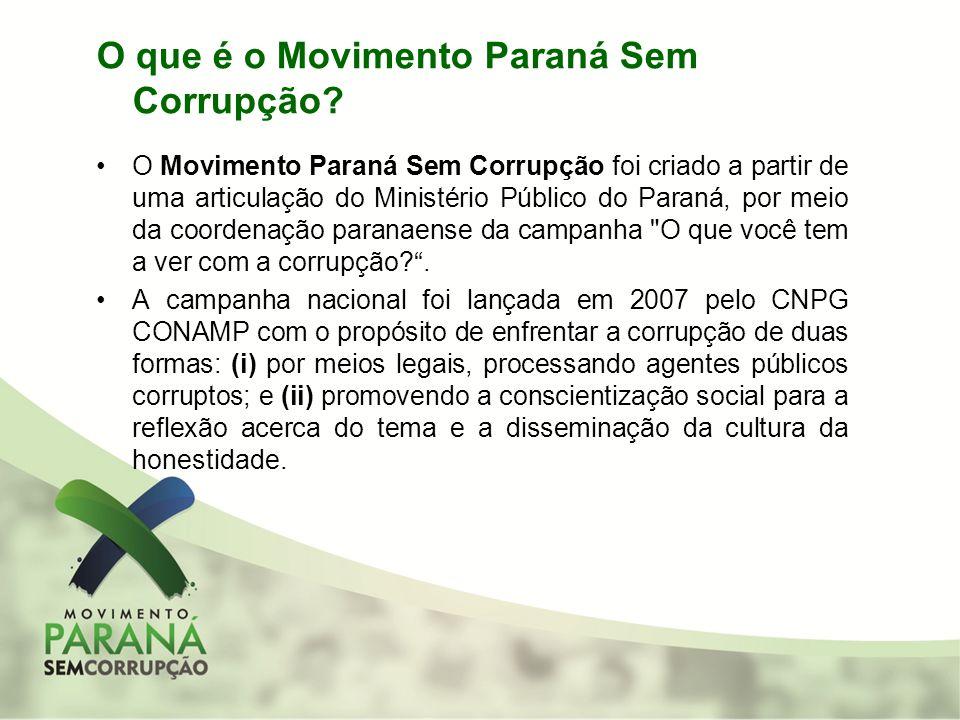 O que é o Movimento Paraná Sem Corrupção? O Movimento Paraná Sem Corrupção foi criado a partir de uma articulação do Ministério Público do Paraná, por